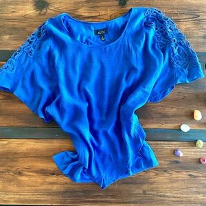 Alyx Blue Poncho Blouse w/ Lace Sleeve Detail